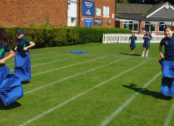 Sports day sack race
