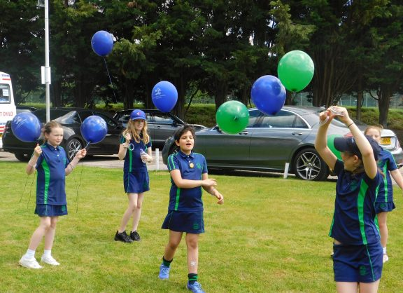 Sports day with school balloons