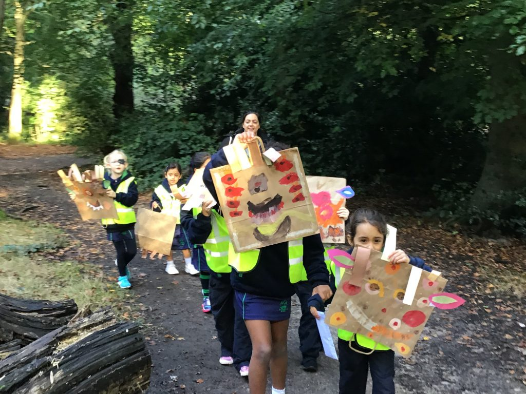 Year 2's artwork inspired by the woods