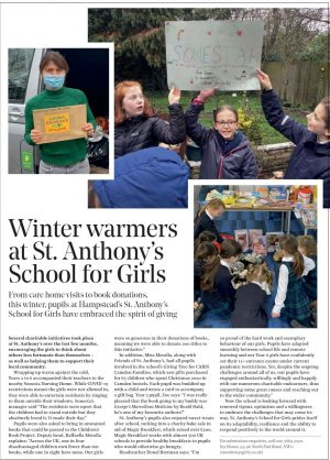 Fabric feature on St Anthony's GIrls giving to charity